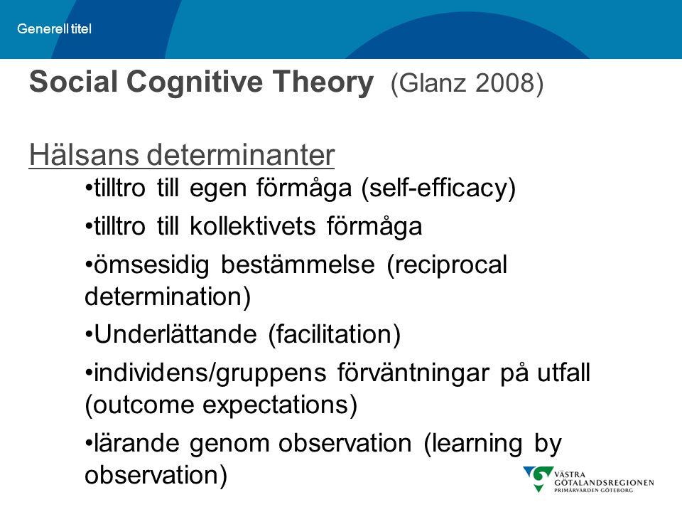 Generell titel Social Cognitive Theory (Glanz 2008) Hälsans determinanter tilltro till egen förmåga (self-efficacy) tilltro till kollektivets förmåga