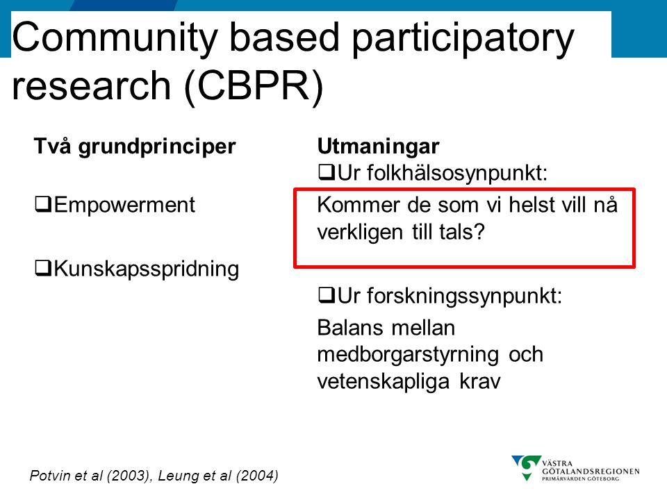 Generell titel Community based participatory research (CBPR) Två grundprinciper  Empowerment  Kunskapsspridning Utmaningar  Ur folkhälsosynpunkt: K