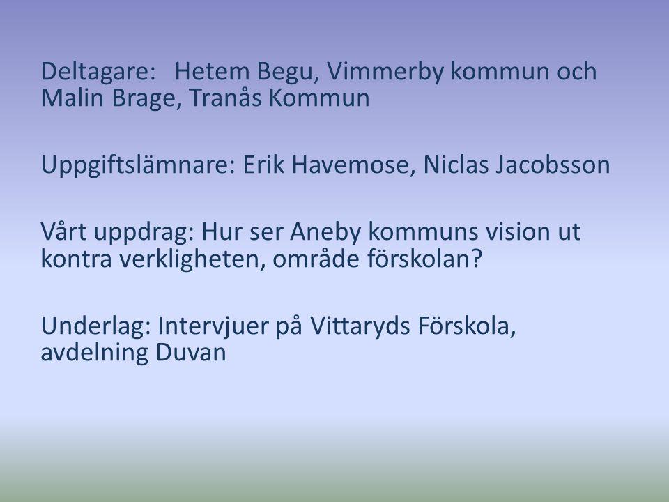Deltagare: Hetem Begu, Vimmerby kommun och Malin Brage, Tranås Kommun Uppgiftslämnare: Erik Havemose, Niclas Jacobsson Vårt uppdrag: Hur ser Aneby kom