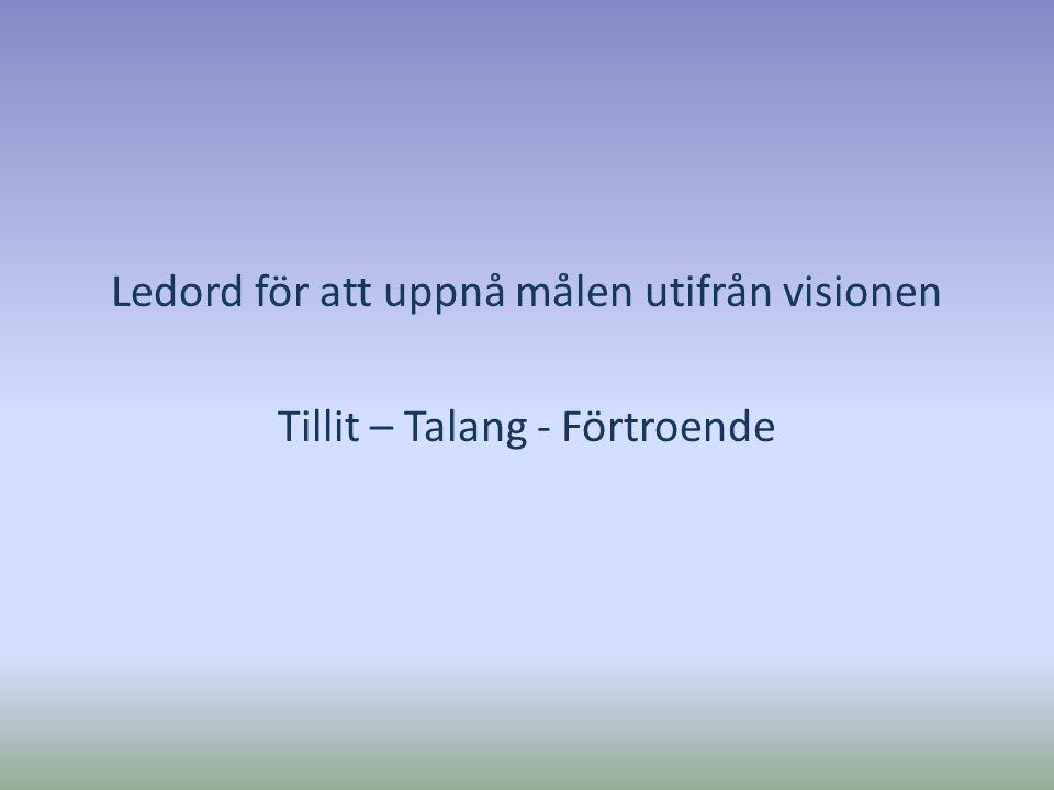 Ledord för att uppnå målen utifrån visionen Tillit – Talang - Förtroende