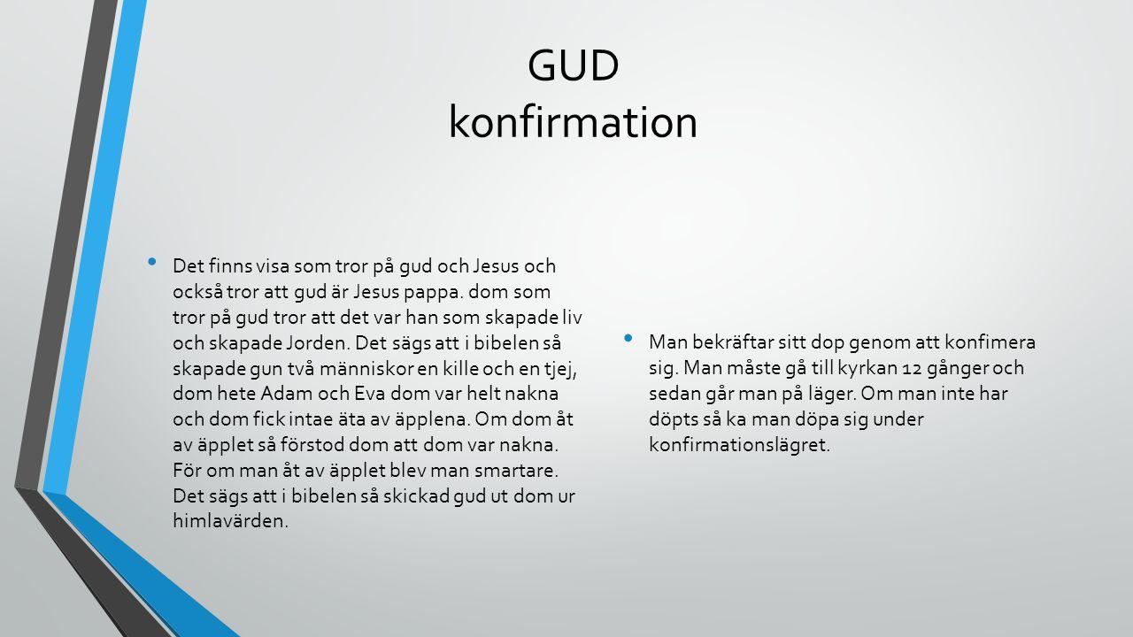GUD konfirmation Det finns visa som tror på gud och Jesus och också tror att gud är Jesus pappa. dom som tror på gud tror att det var han som skapade
