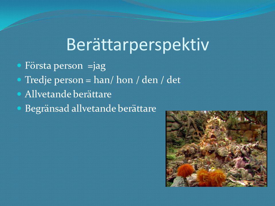 Berättarperspektiv Första person =jag Tredje person = han/ hon / den / det Allvetande berättare Begränsad allvetande berättare