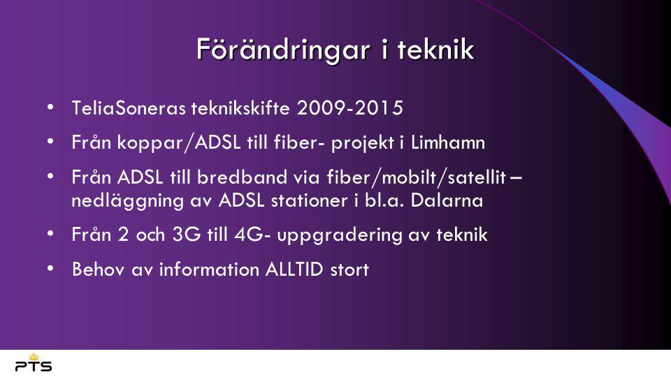 Förändringar i teknik TeliaSoneras teknikskifte 2009-2015 Från koppar/ADSL till fiber- projekt i Limhamn Från ADSL till bredband via fiber/mobilt/sate