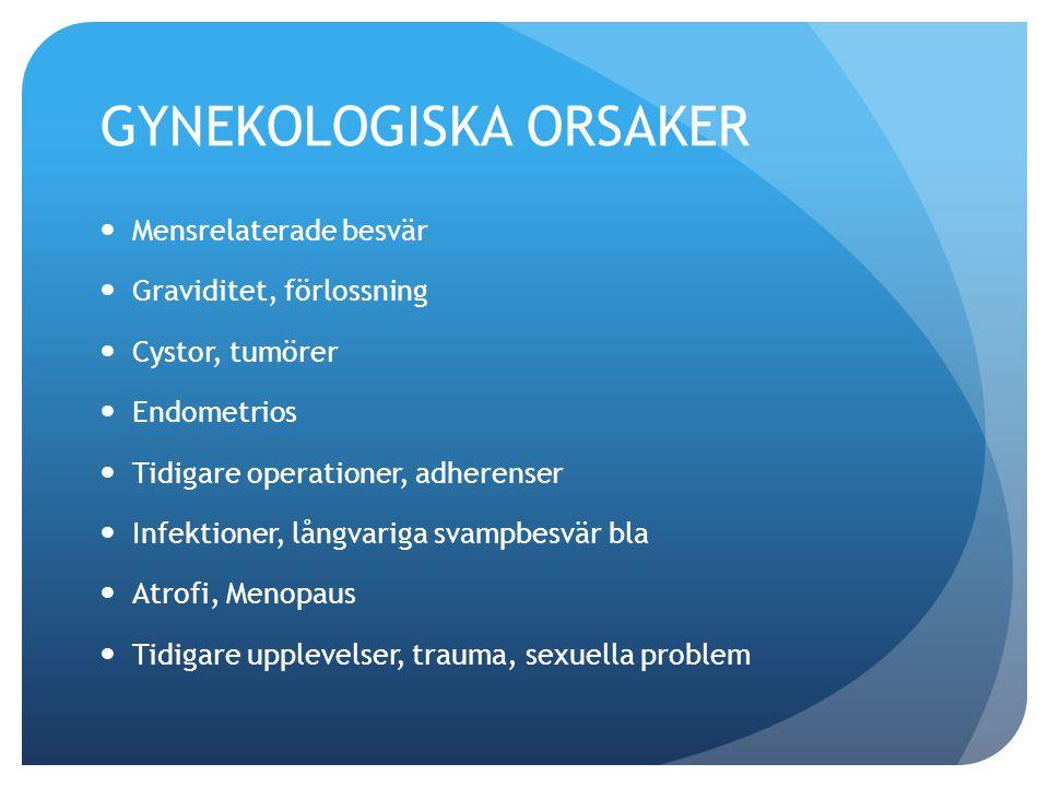 GYNEKOLOGISKA ORSAKER Mensrelaterade besvär Graviditet, förlossning Cystor, tumörer Endometrios Tidigare operationer, adherenser Infektioner, långvariga svampbesvär bla Atrofi, Menopaus Tidigare upplevelser, trauma, sexuella problem