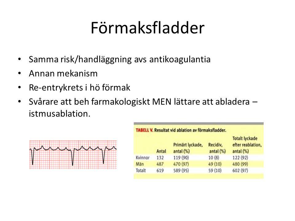 Folksjukdom Incidens >300,000 pers i Sverige (Friberg 2013) 3-4% av vuxna befolkningen 25% tysta flimmer Högre åldrar Vanligare hos män