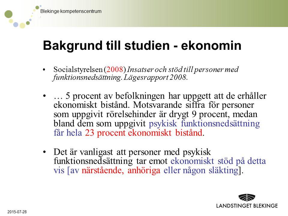 Blekinge kompetenscentrum. Bakgrund till studien - ekonomin Socialstyrelsen (2008) Insatser och stöd till personer med funktionsnedsättning. Lägesrapp