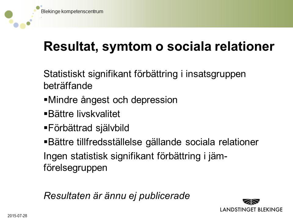 Blekinge kompetenscentrum. Resultat, symtom o sociala relationer Statistiskt signifikant förbättring i insatsgruppen beträffande  Mindre ångest och d