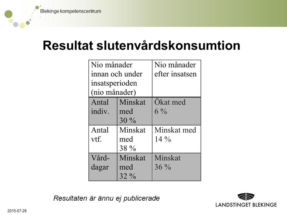 Blekinge kompetenscentrum. Resultat slutenvårdskonsumtion 2015-07-28 Resultaten är ännu ej publicerade