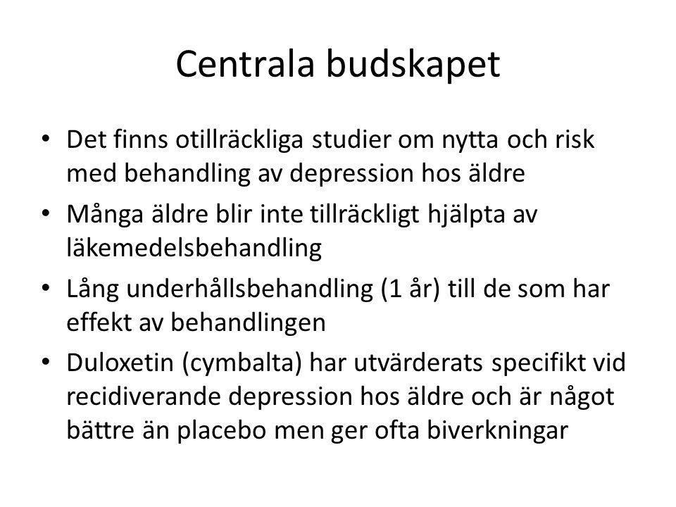 Centrala budskapet Det finns otillräckliga studier om nytta och risk med behandling av depression hos äldre Många äldre blir inte tillräckligt hjälpta av läkemedelsbehandling Lång underhållsbehandling (1 år) till de som har effekt av behandlingen Duloxetin (cymbalta) har utvärderats specifikt vid recidiverande depression hos äldre och är något bättre än placebo men ger ofta biverkningar