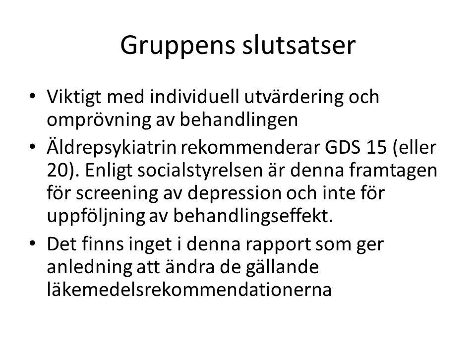 Gruppens slutsatser Viktigt med individuell utvärdering och omprövning av behandlingen Äldrepsykiatrin rekommenderar GDS 15 (eller 20).