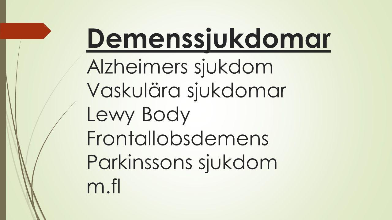 Demenssjukdomar Alzheimers sjukdom Vaskulära sjukdomar Lewy Body Frontallobsdemens Parkinssons sjukdom m.fl