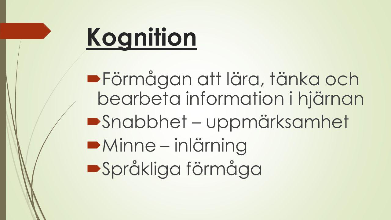 Kognition  Förmågan att lära, tänka och bearbeta information i hjärnan  Snabbhet – uppmärksamhet  Minne – inlärning  Språkliga förmåga