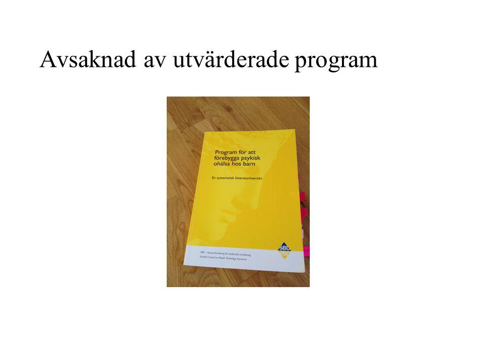 Program för att förebygga depression CWS (Coping With Stress course): indikerat program, utvecklat i USA DISA (Depression In Swedish Adolescents): universellt program, svensk modifiering av CWS 5