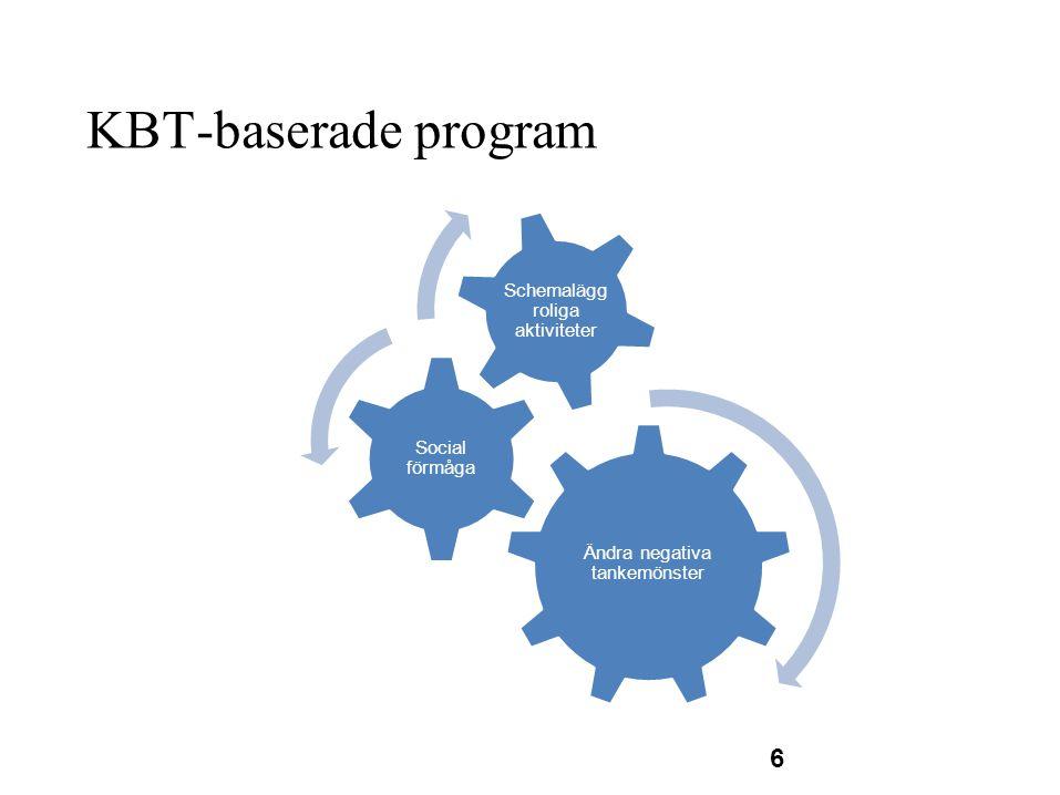 KBT-baserade program 6 Ändra negativa tankemönster Social förmåga Schemalägg roliga aktiviteter