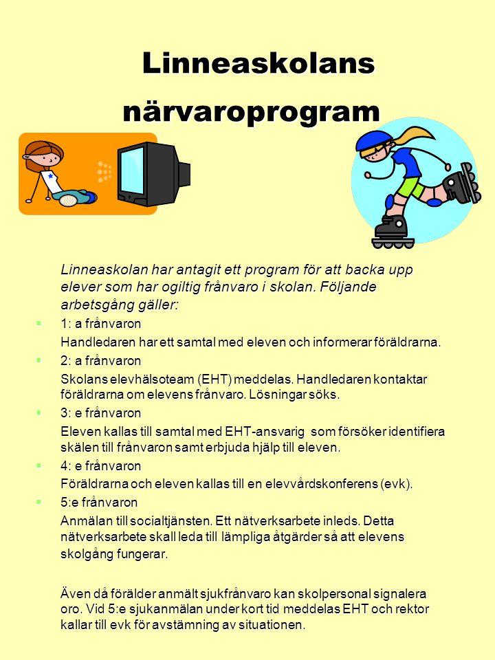 Linneaskolans närvaroprogram Linneaskolans närvaroprogram Linneaskolan har antagit ett program för att backa upp elever som har ogiltig frånvaro i skolan.