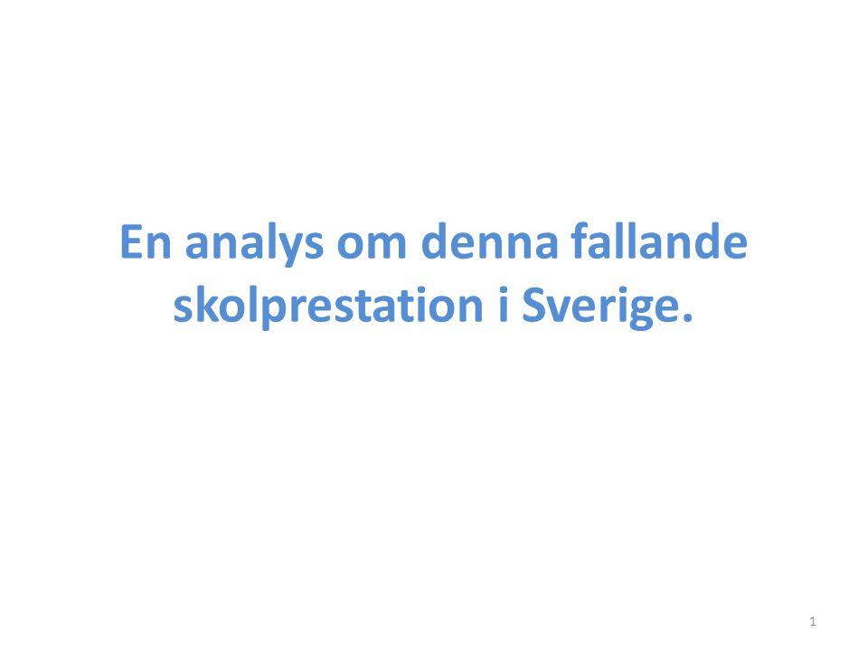 En analys om denna fallande skolprestation i Sverige. 1