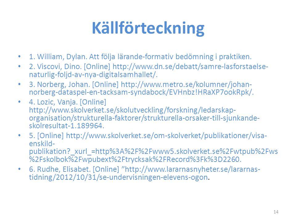Källförteckning 1. William, Dylan. Att följa lärande-formativ bedömning i praktiken.