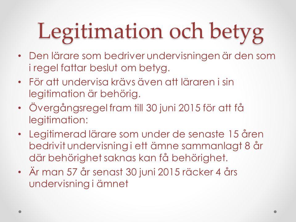 Legitimation och betyg Den lärare som bedriver undervisningen är den som i regel fattar beslut om betyg.