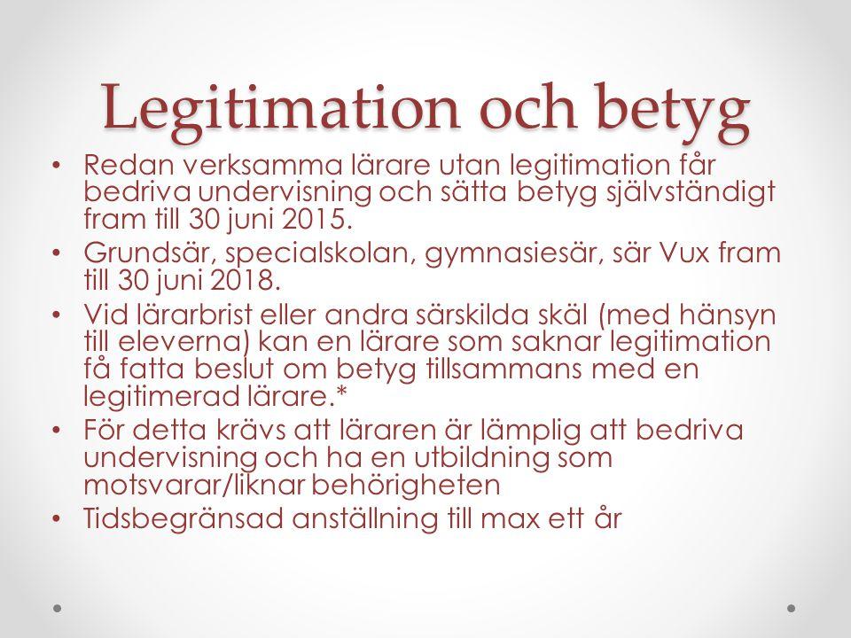 Legitimation och betyg Redan verksamma lärare utan legitimation får bedriva undervisning och sätta betyg självständigt fram till 30 juni 2015.