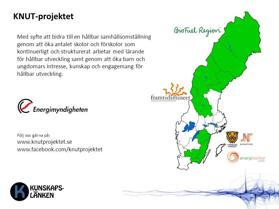 KNUT-projektet Med syfte att bidra till en hållbar samhällsomställning genom att öka antalet skolor och förskolor som kontinuerligt och strukturerat a