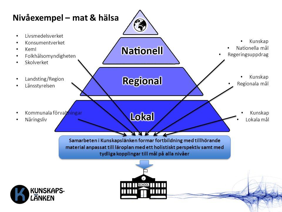 Nivåexempel – mat & hälsa Livsmedelsverket Konsumentverket KemI Folkhälsomyndigheten Skolverket Landsting/Region Länsstyrelsen Kommunala förvaltningar