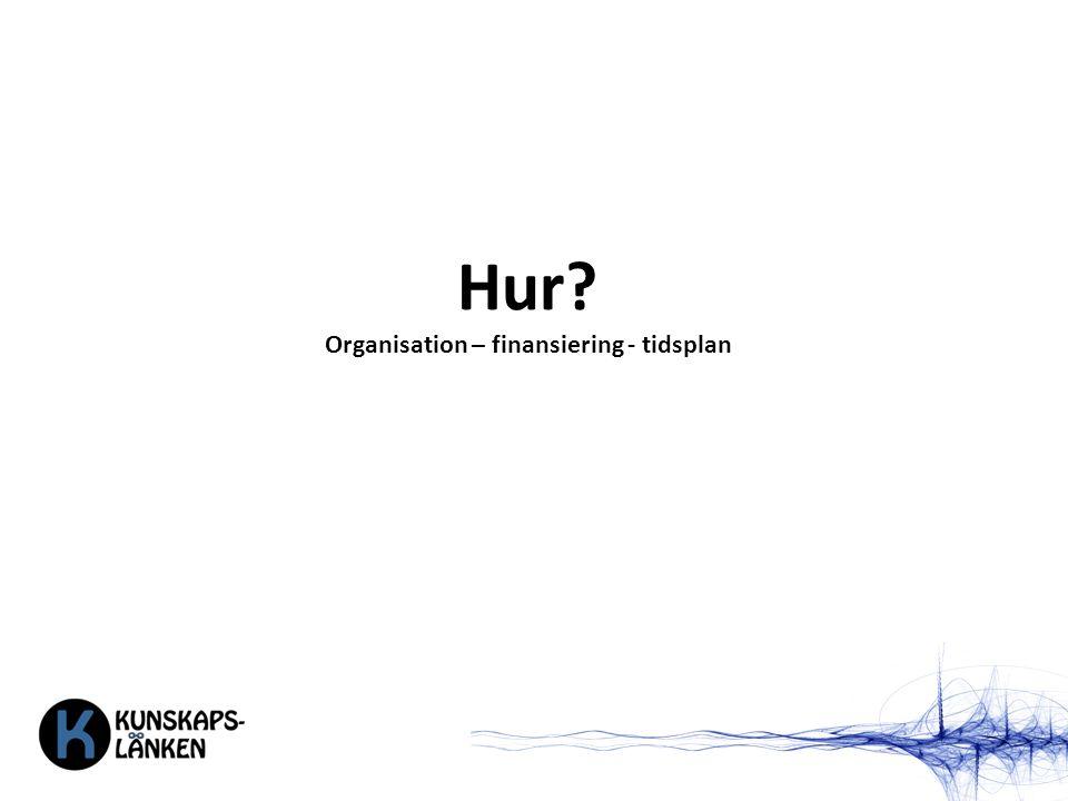 Hur? Organisation – finansiering - tidsplan