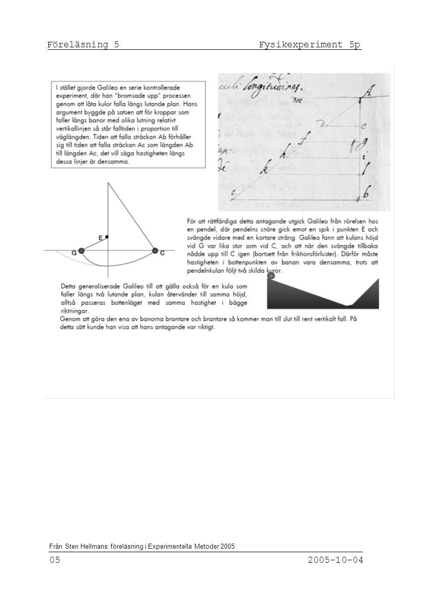 Föreläsning 5 Fysikexperiment 5p 05 2005-10-04 Från Sten Hellmans föreläsning i Experimentella Metoder 2005