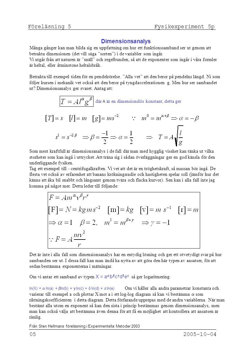 Föreläsning 5 Fysikexperiment 5p 05 2005-10-04 Från Sten Hellmans föreläsning i Experimentella Metoder 2003 Dimensionsanalys Många gånger kan man bild