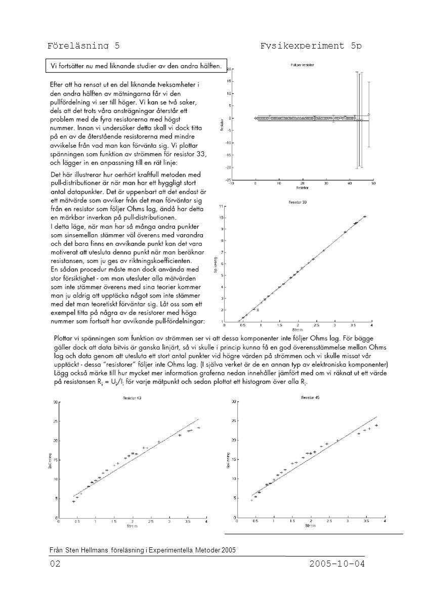 Föreläsning 5 Fysikexperiment 5p 02 2005-10-04 Från Sten Hellmans föreläsning i Experimentella Metoder 2005