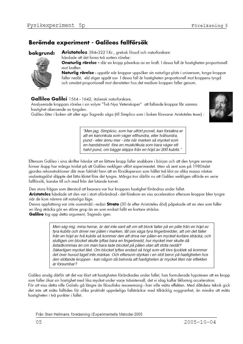 Fysikexperiment 5p Föreläsning 5 05 2005-10-04 Från Sten Hellmans föreläsning i Experimentella Metoder 2005