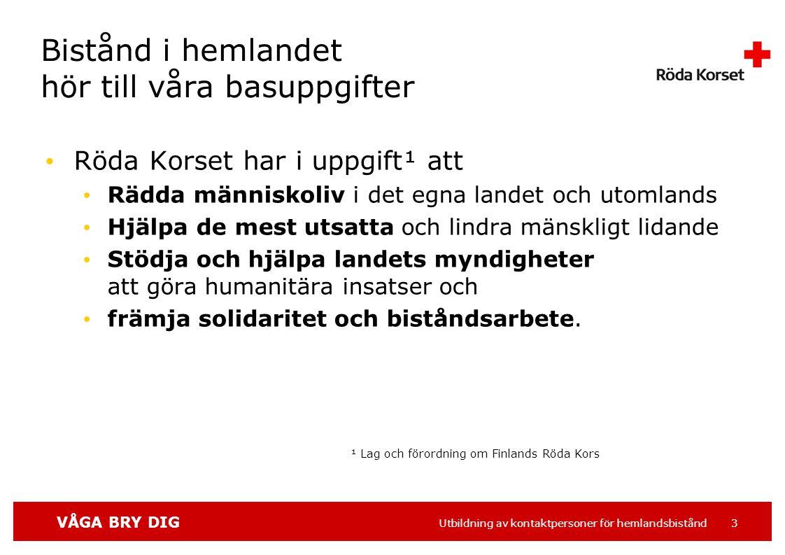 VÅGA BRY DIG Utbildning av kontaktpersoner för hemlandsbistånd 24 5.