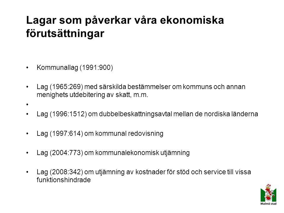 Lagar som påverkar våra ekonomiska förutsättningar Kommunallag (1991:900) Lag (1965:269) med särskilda bestämmelser om kommuns och annan menighets utd