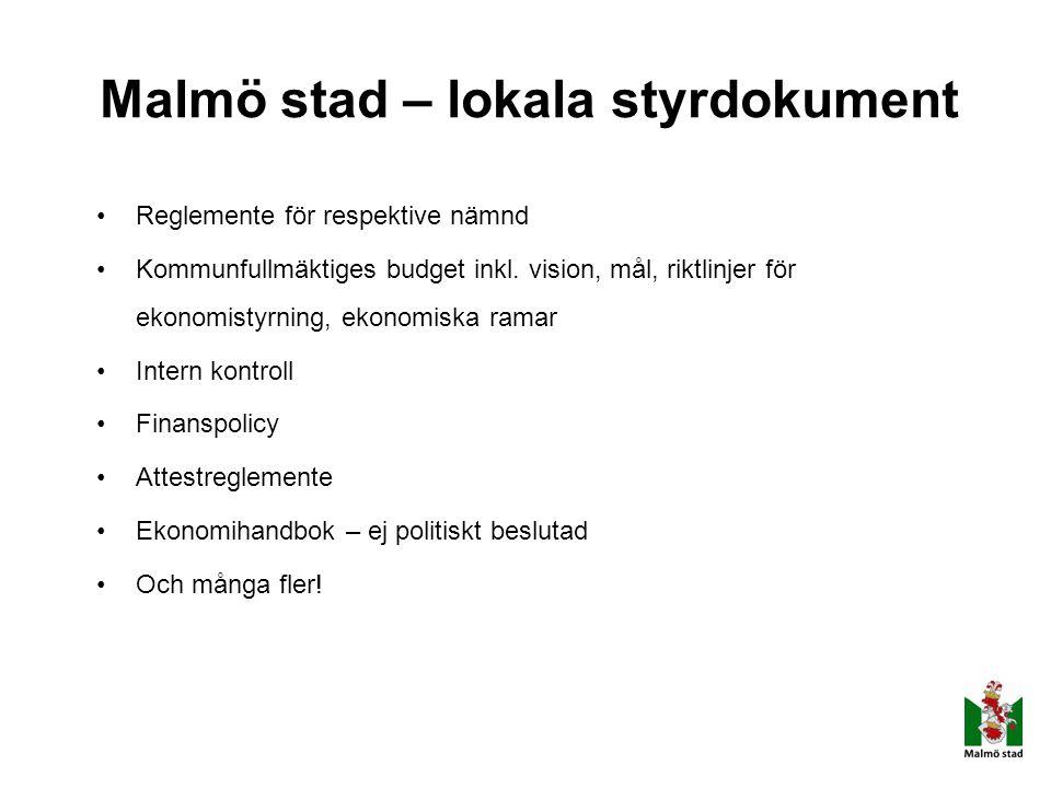 Malmö stad – lokala styrdokument Reglemente för respektive nämnd Kommunfullmäktiges budget inkl. vision, mål, riktlinjer för ekonomistyrning, ekonomis