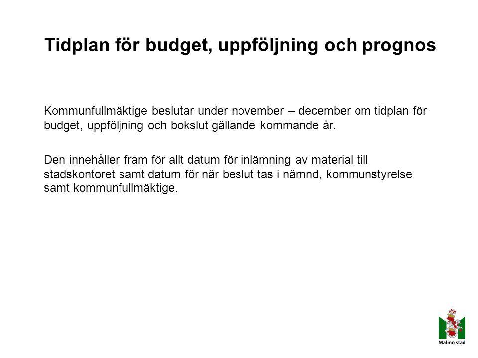 Tidplan för budget, uppföljning och prognos Kommunfullmäktige beslutar under november – december om tidplan för budget, uppföljning och bokslut gällan