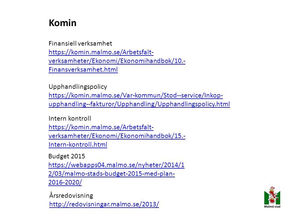 Komin Finansiell verksamhet https://komin.malmo.se/Arbetsfalt- verksamheter/Ekonomi/Ekonomihandbok/10.- Finansverksamhet.html Upphandlingspolicy https