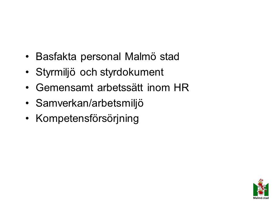 Basfakta personal Malmö stad Styrmiljö och styrdokument Gemensamt arbetssätt inom HR Samverkan/arbetsmiljö Kompetensförsörjning