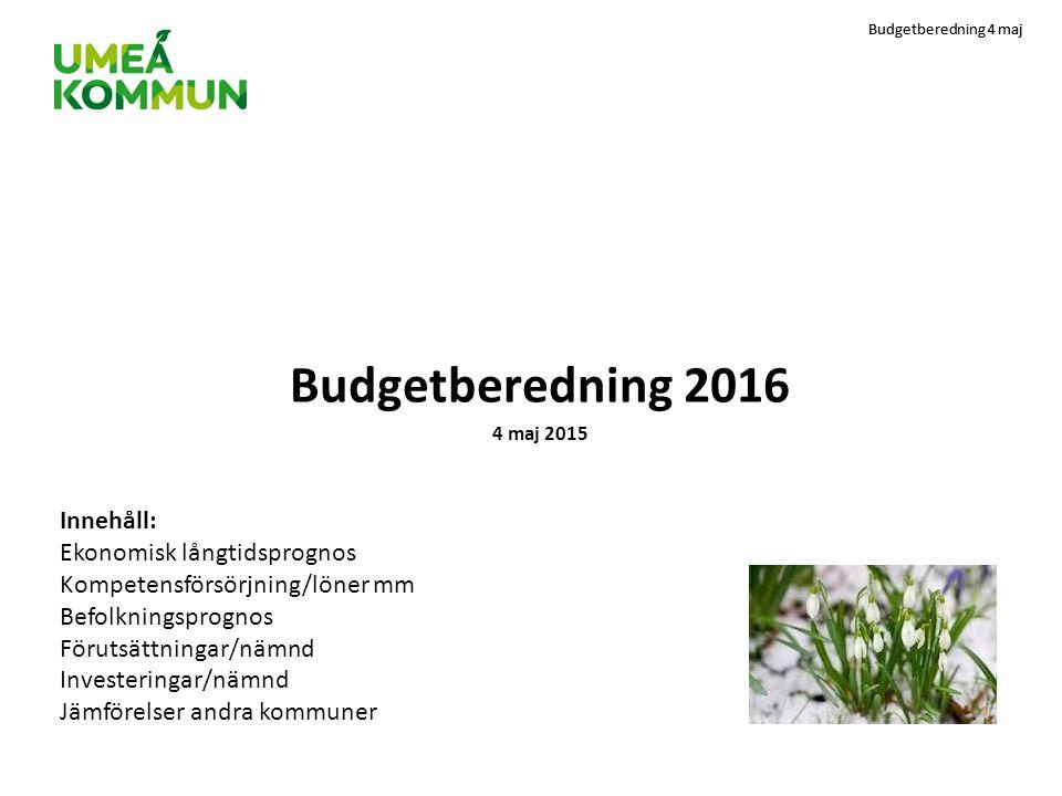 Budgetberedning 4 maj Agenda 08.15Hans Lindberg hälsar välkommen och berättar om syftet med dagen och sina förväntningar på 08.30Ekonomiska läget; finansiella mål, god ekonomisk hushållning, soliditet, skuldutveckling mm (Susanne) 08.45Ekonomisk långtidsprognos med nya skatteprognoser (Susanne) 09.00Kompetensförsörjning, löner mm (Birgitta) 09.30 Fika 10.00Ekonomisk långtidsprognos med lönekostnadsökningar (Susanne) 10.10Befolkningsprognos Umeå kommun (Anna-Lena) 10.40Ekonomisk långtidsprognos inklusive behovsökningar (Susanne) 10.45Ekonomisk utveckling samt investeringar/nämnd (Ann-Christine/Ewa/Margaretha) 11.45Jämförelser med andra kommuner plus summering (Susanne) 11.58Tack för idag.