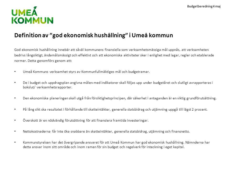 Budgetberedning 4 maj Definition av god ekonomisk hushållning i Umeå kommun God ekonomisk hushållning innebär att såväl kommunens finansiella som verksamhetsmässiga mål uppnås, att verksamheten bedrivs långsiktigt, ändamålsmässigt och effektivt och att ekonomiska aktiviteter sker i enlighet med lagar, regler och etablerade normer.