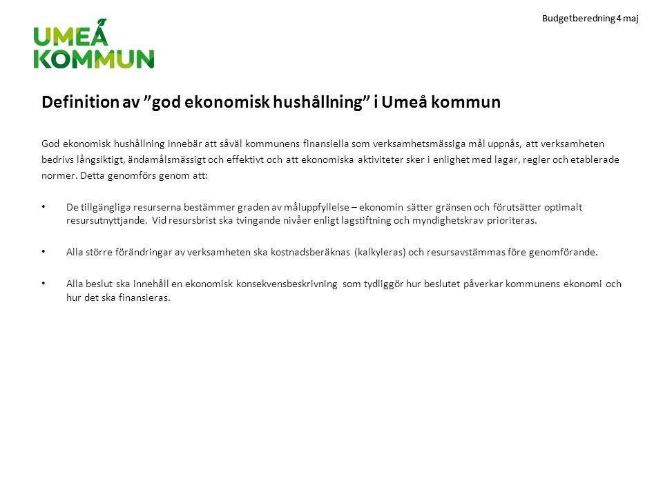 """Budgetberedning 4 maj Definition av """"god ekonomisk hushållning"""" i Umeå kommun God ekonomisk hushållning innebär att såväl kommunens finansiella som ve"""