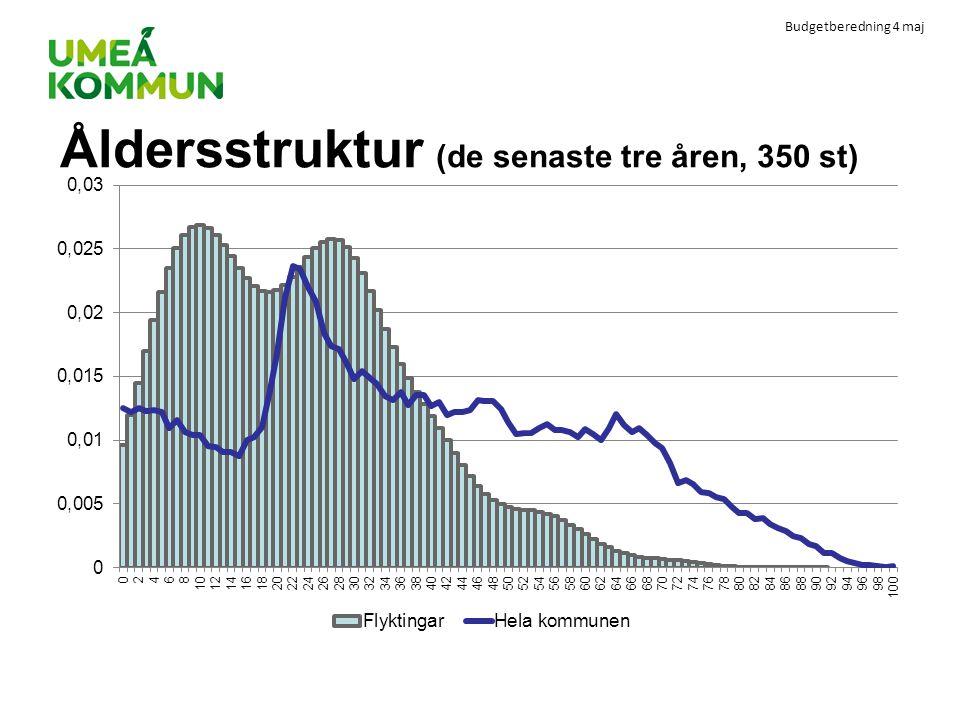 Budgetberedning 4 maj Åldersstruktur (de senaste tre åren, 350 st)