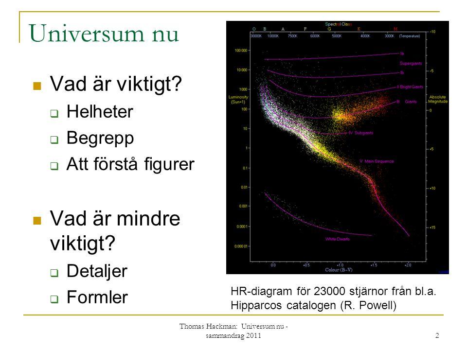 Universum nu Vad är viktigt?  Helheter  Begrepp  Att förstå figurer Vad är mindre viktigt?  Detaljer  Formler Thomas Hackman: Universum nu - samm