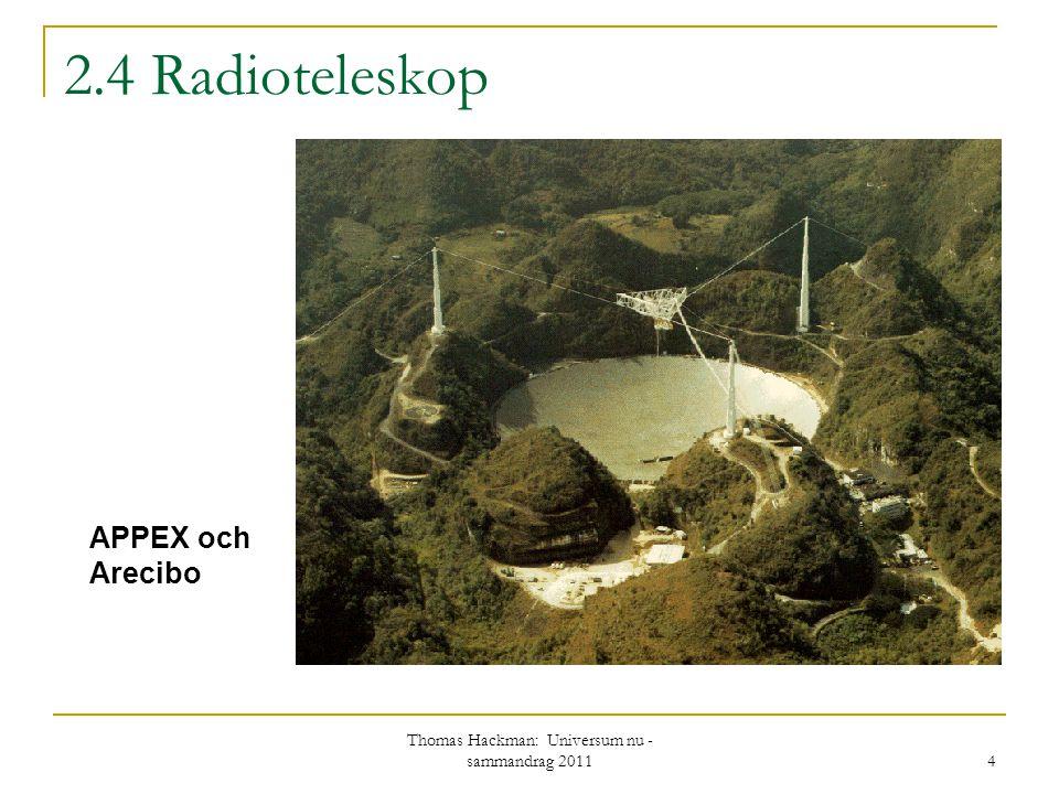 2.4 Radioteleskop APPEX och Arecibo 4 Thomas Hackman: Universum nu - sammandrag 2011