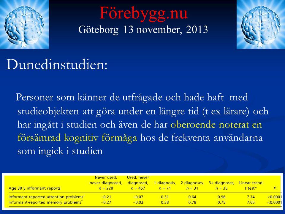 Förebygg.nu Göteborg 13 november, 2013 Dunedinstudien: Personer som känner de utfrågade och hade haft med studieobjekten att göra under en längre tid