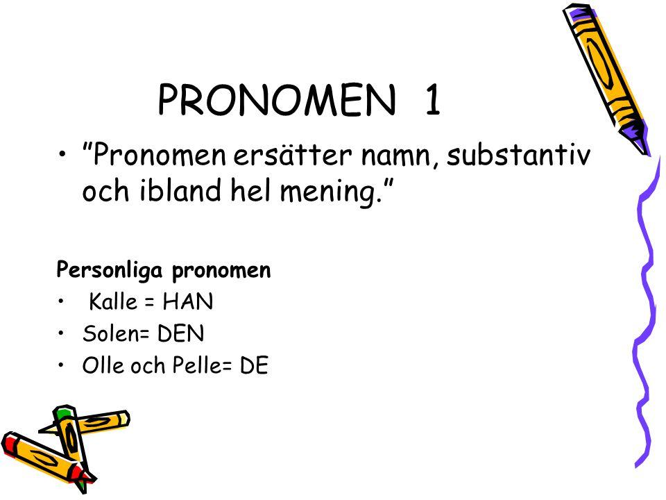 """PRONOMEN1 """"Pronomen ersätter namn, substantiv och ibland hel mening."""" Personliga pronomen Kalle = HAN Solen= DEN Olle och Pelle= DE"""