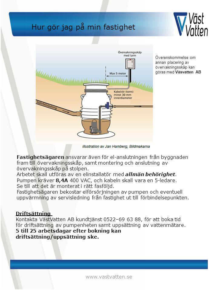 Hur gör jag på min fastighet www.vastvatten.se Fastighetsägaren ansvarar även för el-anslutningen från byggnaden fram till övervakningsskåp, samt mont