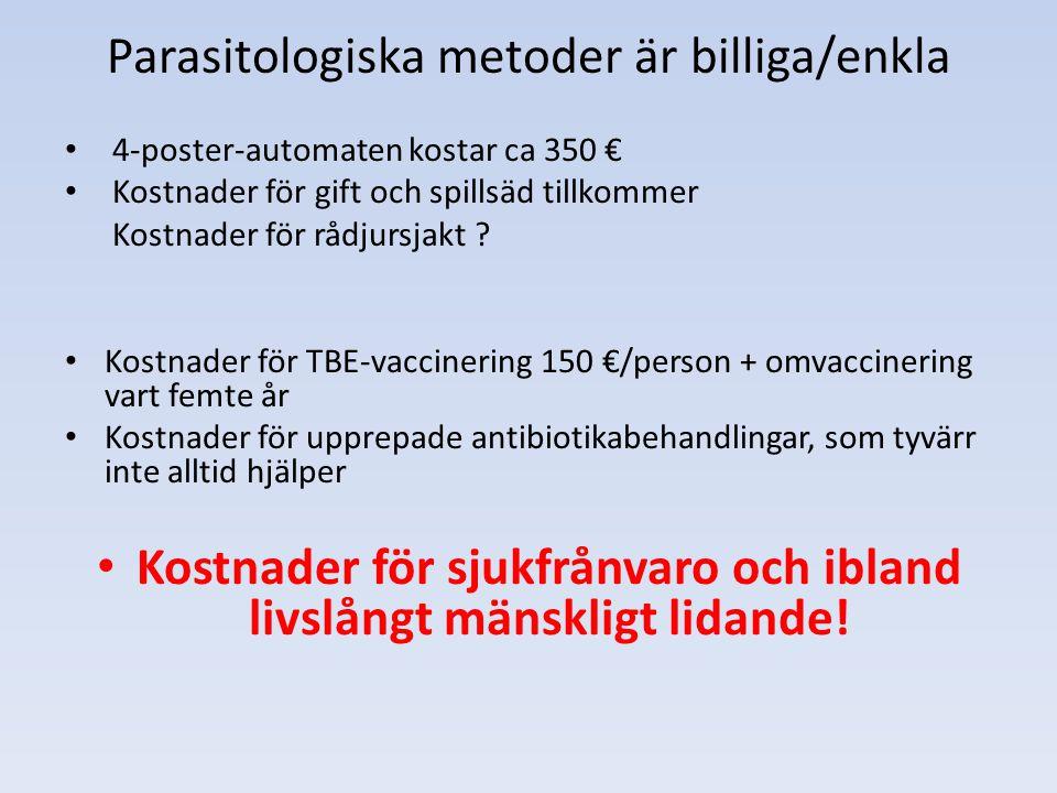 Parasitologiska metoder är billiga/enkla 4-poster-automaten kostar ca 350 € Kostnader för gift och spillsäd tillkommer Kostnader för rådjursjakt ? Kos
