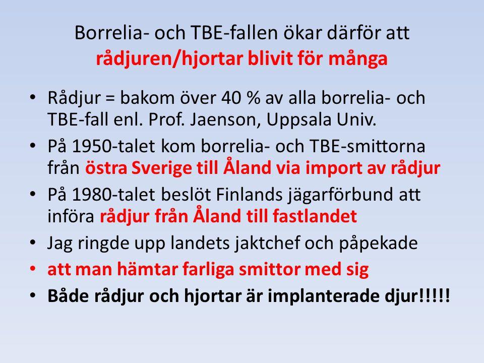 Borrelia- och TBE-fallen ökar därför att rådjuren/hjortar blivit för många Rådjur = bakom över 40 % av alla borrelia- och TBE-fall enl. Prof. Jaenson,