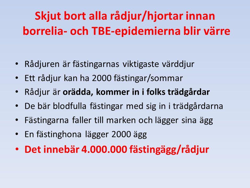 Skjut bort alla rådjur/hjortar innan borrelia- och TBE-epidemierna blir värre Rådjuren är fästingarnas viktigaste värddjur Ett rådjur kan ha 2000 fäst