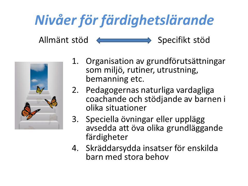 Nivåer för färdighetslärande Allmänt stöd Specifikt stöd 1.Organisation av grundförutsättningar som miljö, rutiner, utrustning, bemanning etc. 2.Pedag