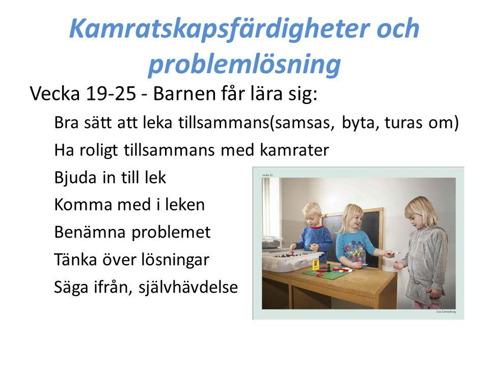 Kamratskapsfärdigheter och problemlösning Vecka 19-25 - Barnen får lära sig: Bra sätt att leka tillsammans(samsas, byta, turas om) Ha roligt tillsamma